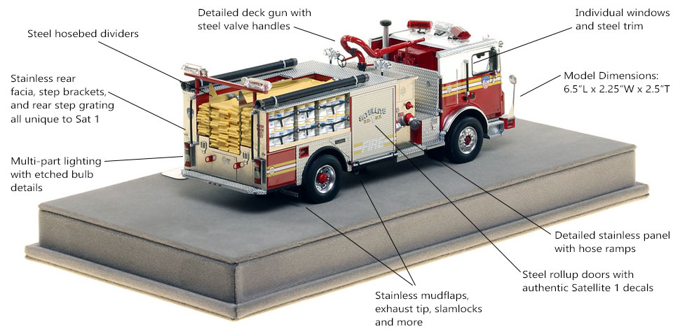 Specs and Features of FDNY Satellite 1 scale model