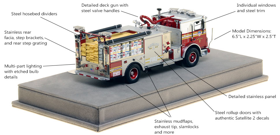 Specs and Features of FDNY Satellite 2 scale model