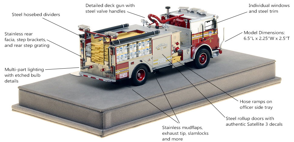 Specs and Features of FDNY Satellite 3 scale model
