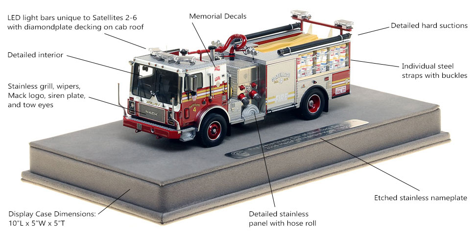 Features and Specs of FDNY Satellite 4 scale model