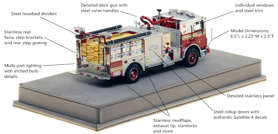 Specs and Features of FDNY Satellite 4 scale model