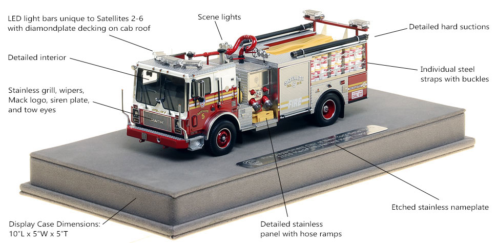 Features and Specs of FDNY Satellite 5 scale model