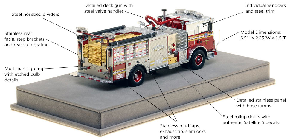 Specs and Features of FDNY Satellite 5 scale model