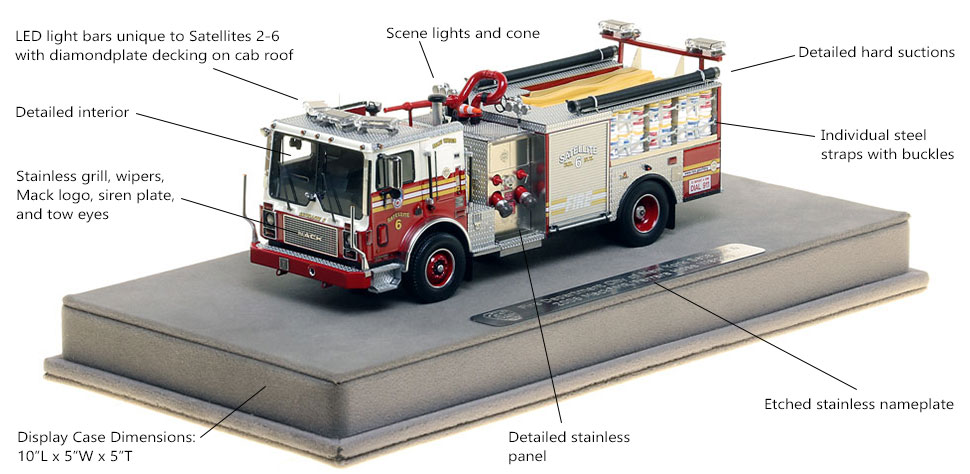 Features and Specs of FDNY Satellite 6 scale model