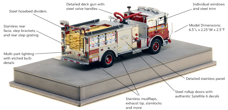 Specs and Features of FDNY Satellite 6 scale model