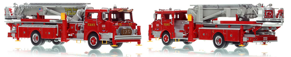 FDNY's 1973 Mack CF/Baker Tower Ladder 120 is now available as a museum grade replica