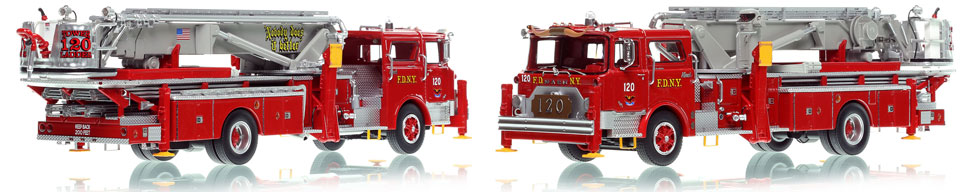 FDNY's 1973 Ladder 120 scale model is hand-crafted and intricately detailed.