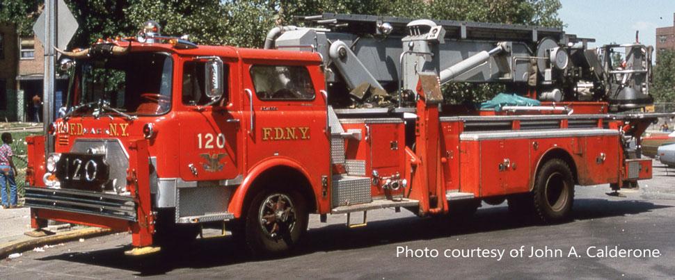 FDNY 1973 Mack CF/Baker Tower Ladder 120 courtesy of John A. Calderone