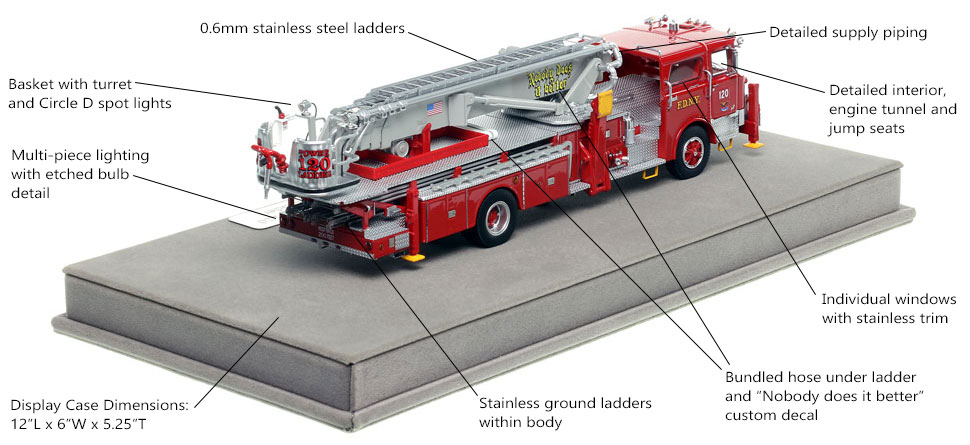 Specs and Features of FDNY's 1973 Mack CF/Baker Tower Ladder 120 scale model