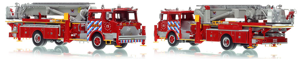 FDNY's 1973 Mack CF/Baker Tower Ladder 15 is now available as a museum grade replica