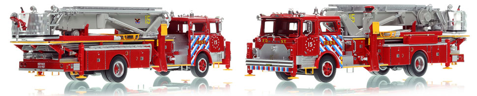FDNY's 1973 Ladder 15 scale model is hand-crafted and intricately detailed.
