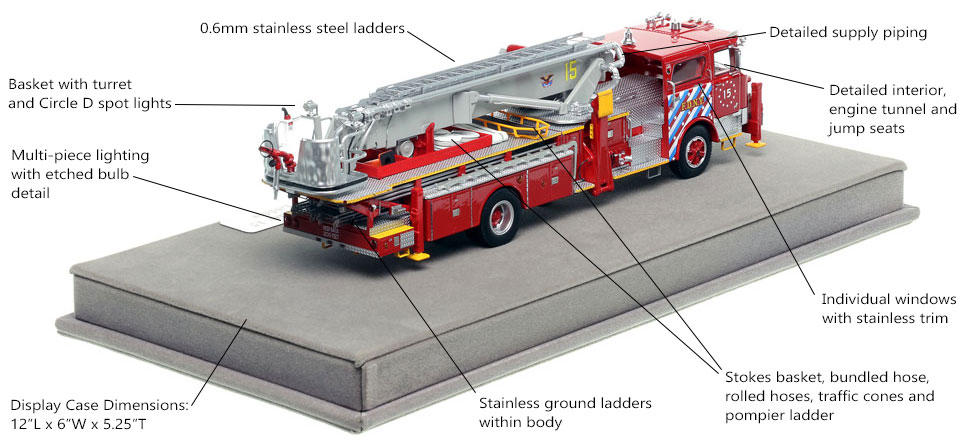 Specs and Features of FDNY's 1973 Mack CF/Baker Tower Ladder 15 scale model