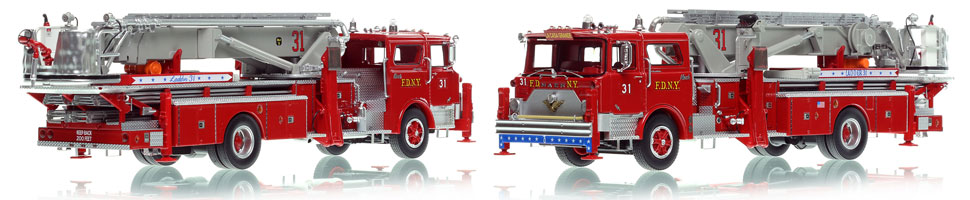 FDNY's 1973 Mack CF/Baker Tower Ladder 31 is now available as a museum grade replica.