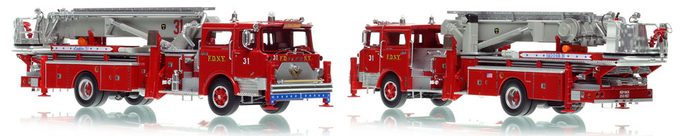 FDNY's 1973 Ladder 31 scale model is hand-crafted and intricately detailed.