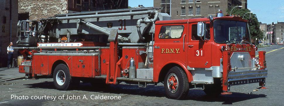 FDNY 1973 Mack CF/Baker Tower Ladder 31 courtesy of John A. Calderone