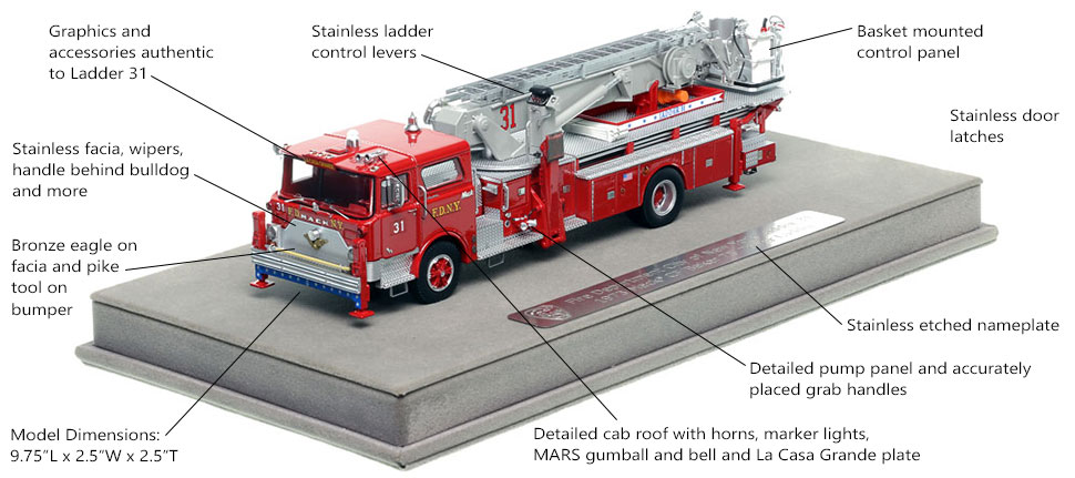 Features and Specs of FDNY's 1973 Mack CF/Baker Ladder 31 scale model