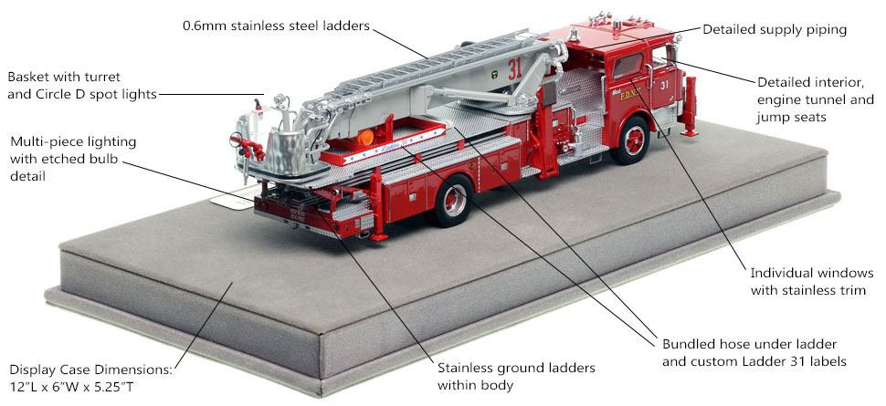Specs and Features of FDNY's 1973 Mack CF/Baker Tower Ladder 31 scale model