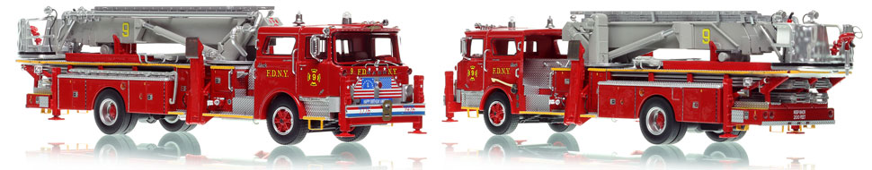 FDNY's 1972 Ladder 9 scale model is hand-crafted and intricately detailed.
