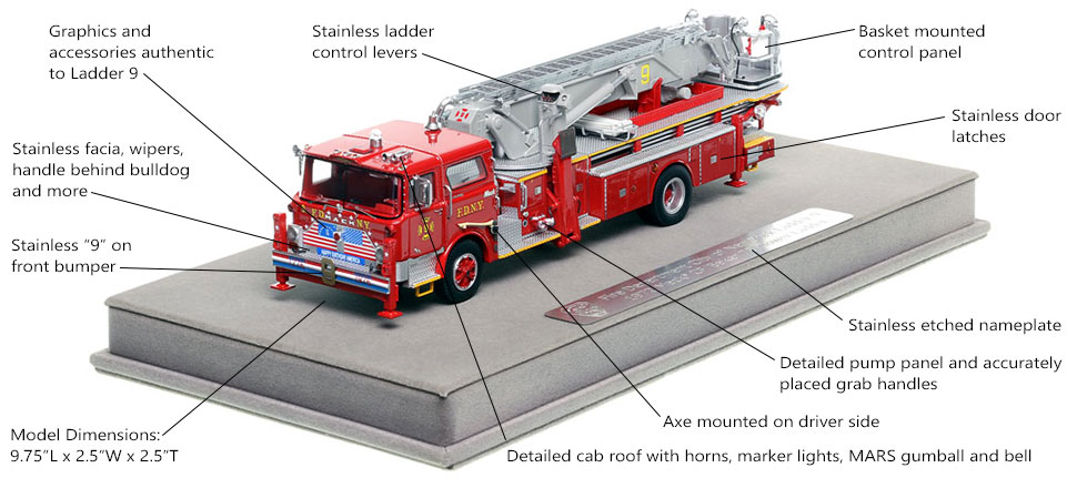 Features and Specs of FDNY's 1972 Mack CF/Baker Ladder 9 scale model