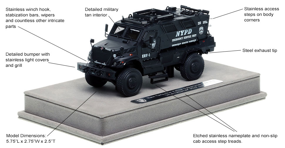 Features and Specs of NYPD's ERV-1 scale model