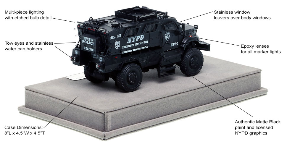 Specs and Features of NYPD's ERV-1 scale model
