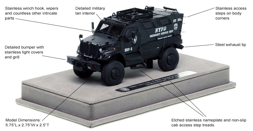 Features and Specs of NYPD's ERV-2 scale model