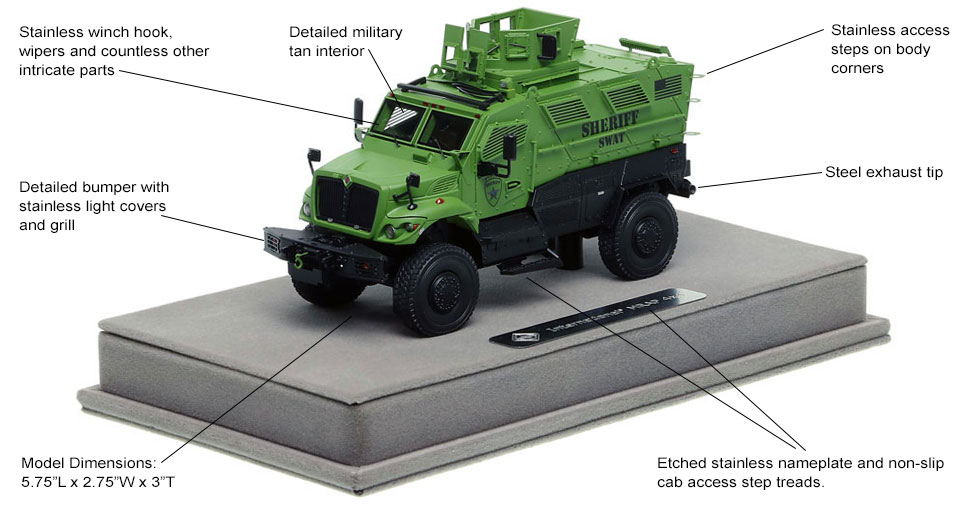 Features and Specs of International MVP 4x4 Sheriff SWAT scale model
