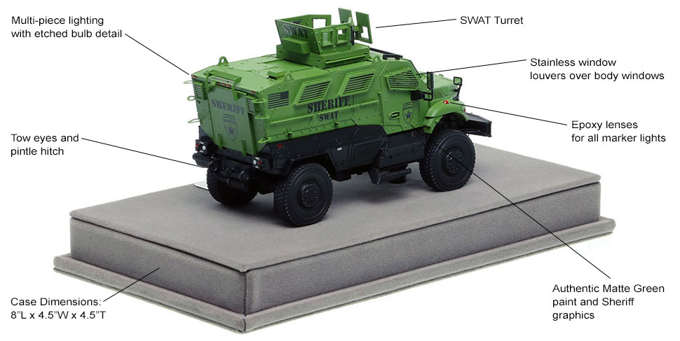 Specs and Features of International MVP 4x4 Sheriff SWAT scale model