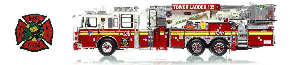See the Myrtle Turtles Tower Ladder 135 scale model from Queens!