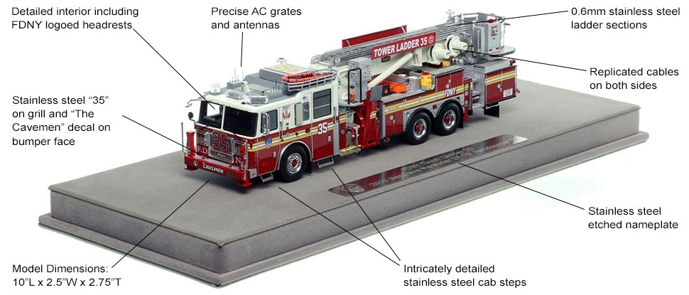 Specs and features of FDNY's 2010 Tower Ladder 35 scale model
