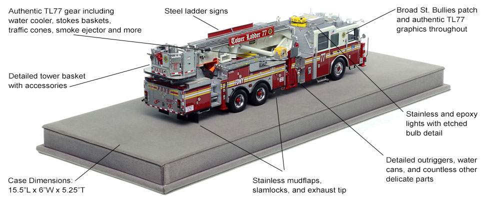 Features and specs of FDNY Tower Ladder 77 scale model