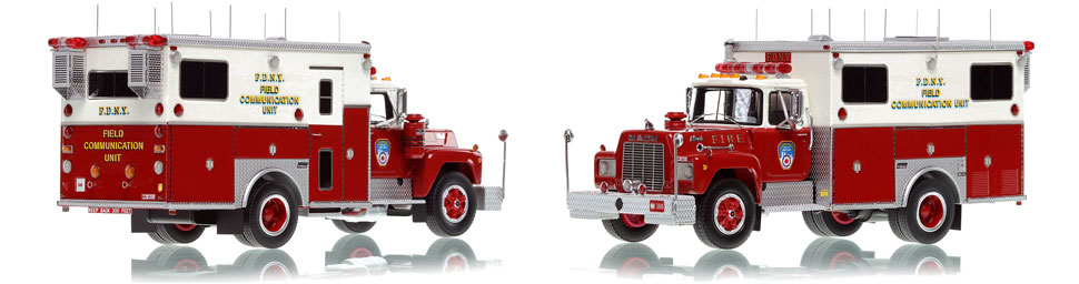 The first museum grade scale model of FDNY's 1985 Mack R-Saulsbury Field Communications Unit