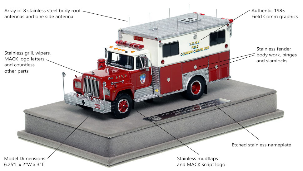 Features and Specs of FDNY's 1985 Field Communications scale model