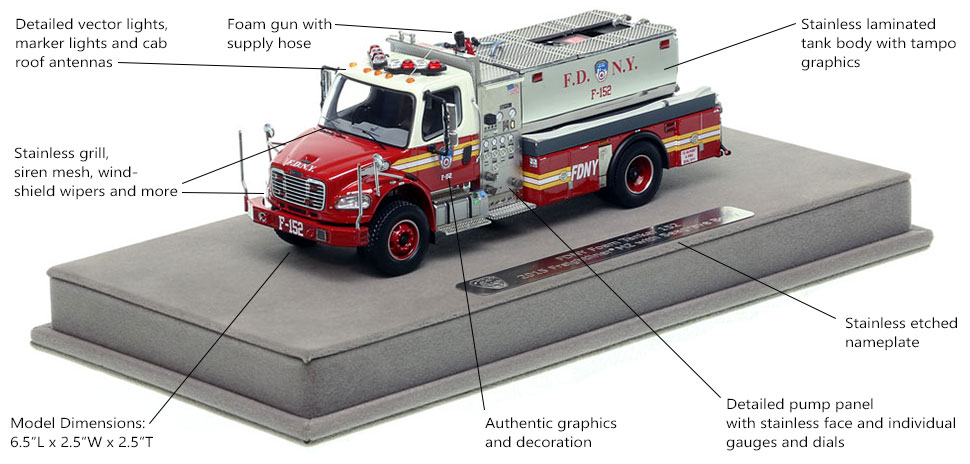 Features and specs of FDNY Foam Tanker 152 scale model
