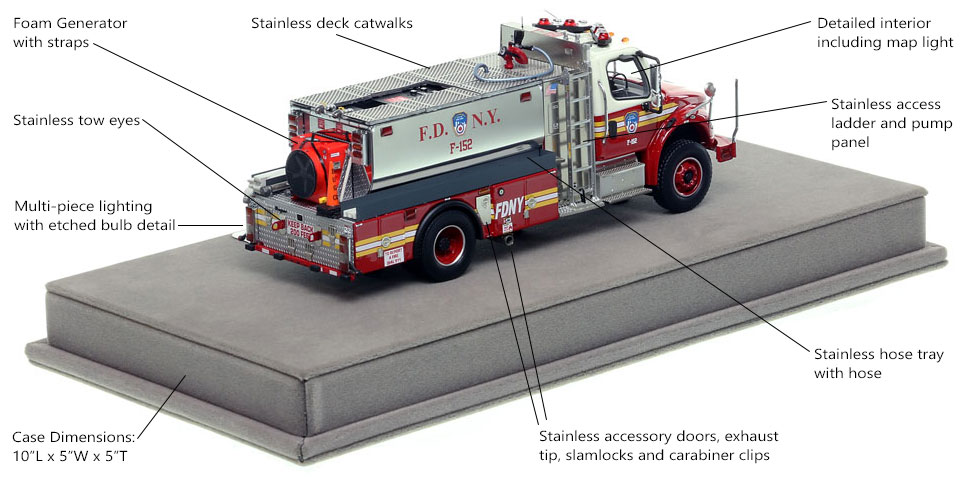 Specs and features of FDNY Foam Tanker 152 scale model