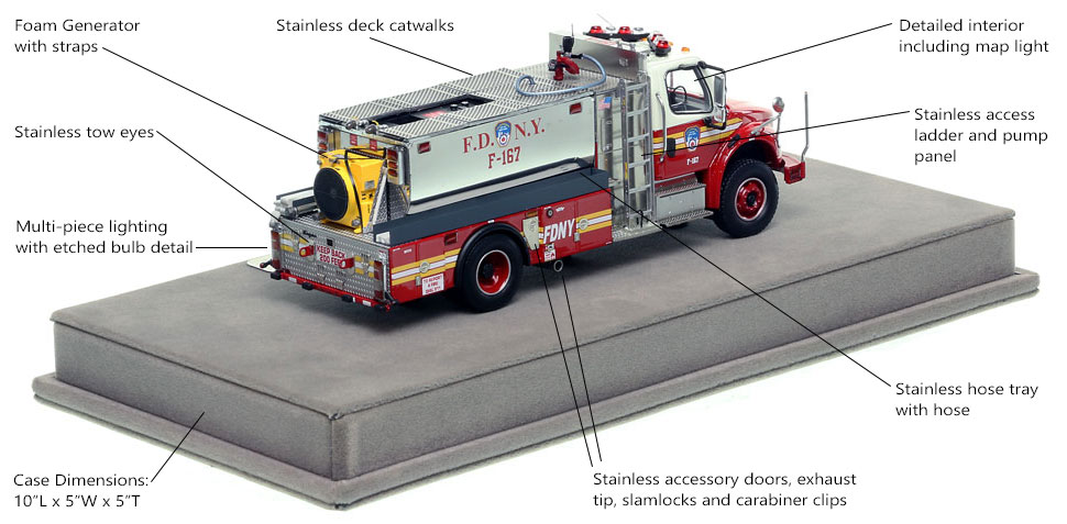 Specs and features of FDNY Foam Tanker 167 scale model