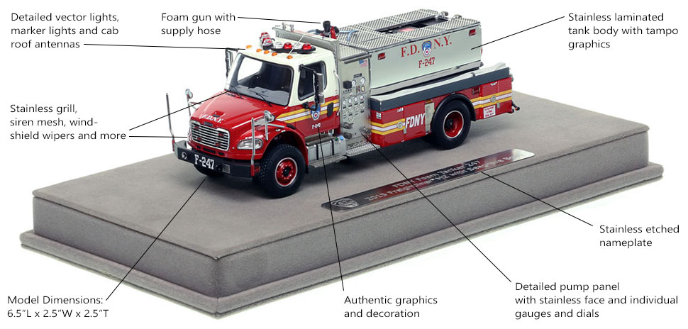 Features and specs of FDNY Foam Tanker 247 scale model