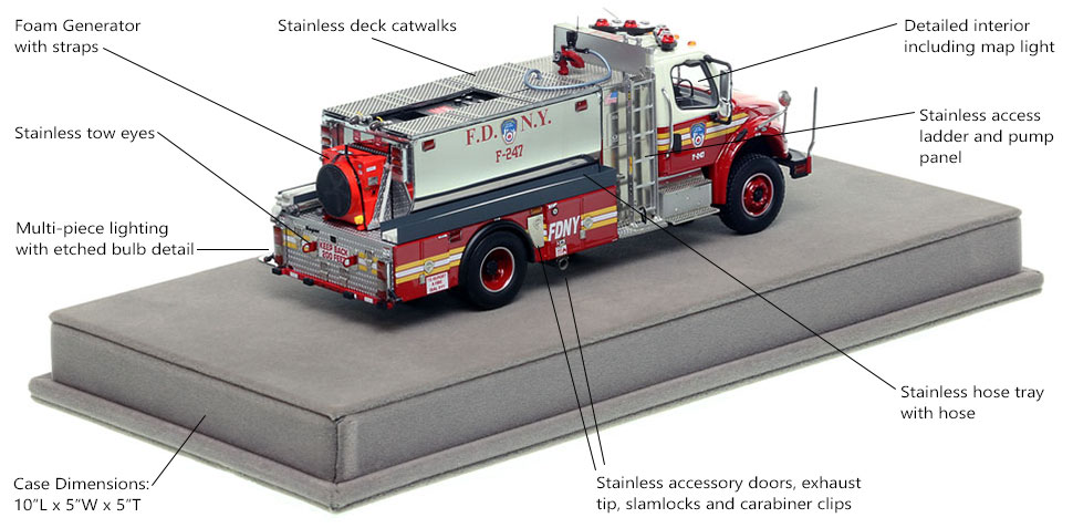 Specs and features of FDNY Foam Tanker 247 scale model