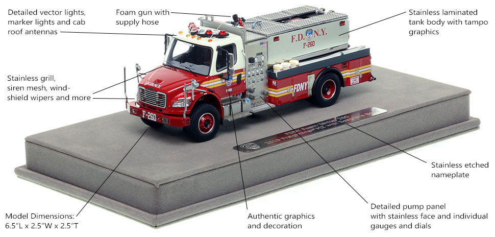 Features and specs of FDNY Foam Tanker 260 scale model