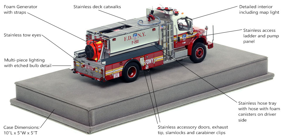 Specs and features of FDNY Foam Tanker 260 scale model