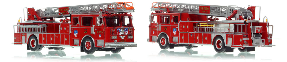 FDNY's 1983 Ladder 26 scale model is hand-crafted and intricately detailed.
