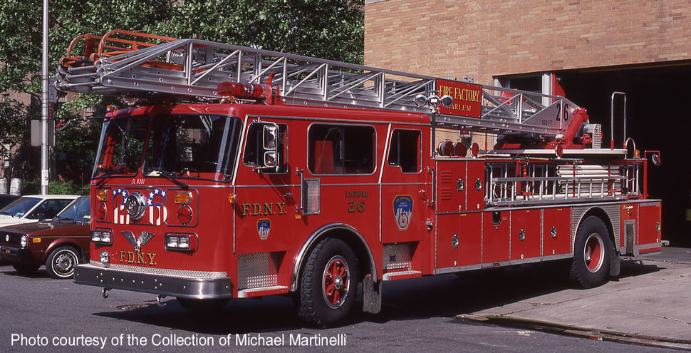 FDNY's 1983 Seagrave 100' Ladder 26 courtesy of the Michael Martinelli Collection