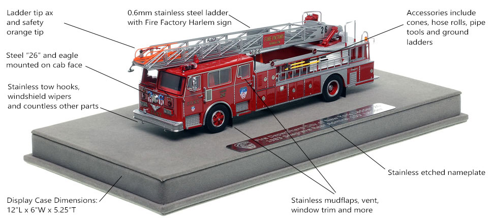 Features and Specs of FDNY's 1983 Ladder 26 scale model