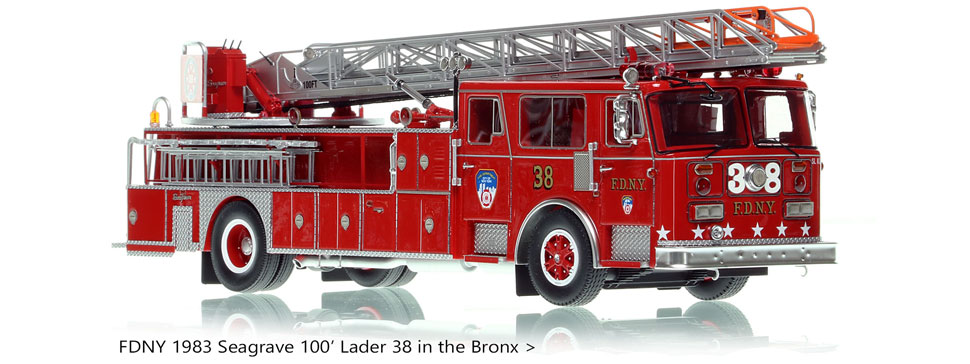 FDNY 1983 Seagrave 100' Ladder 38 in the Bronx - 1:50 scale model