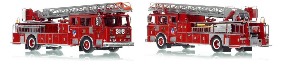 FDNY's 1983 Ladder 38 scale model is hand-crafted and intricately detailed.
