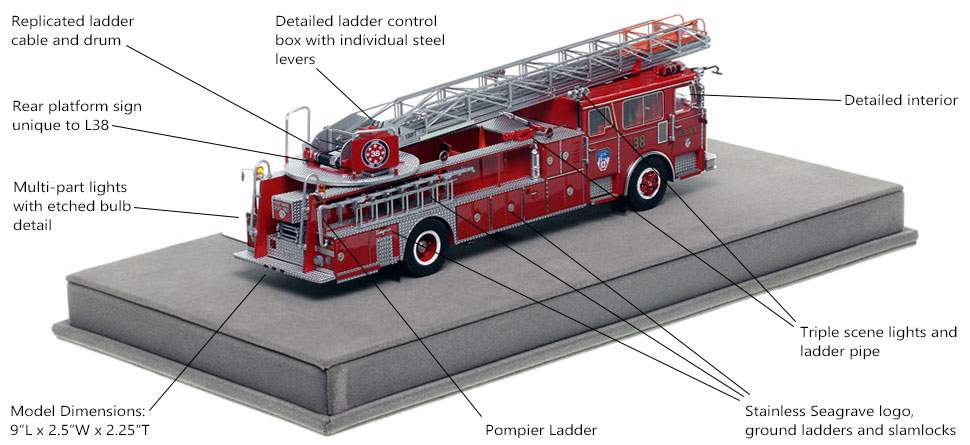 Specs and Features of FDNY's 1983 Ladder 38 scale model
