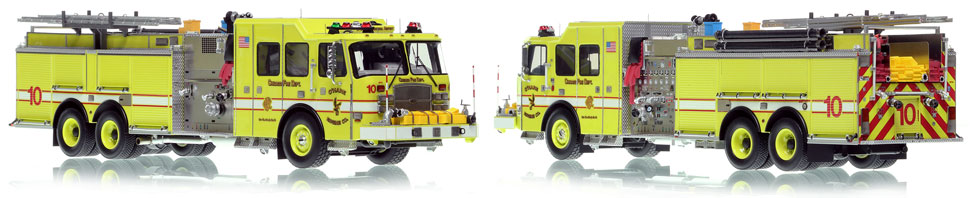 Chicago O'Hare Engine 10 scale model is hand-crafted and intricately detailed.