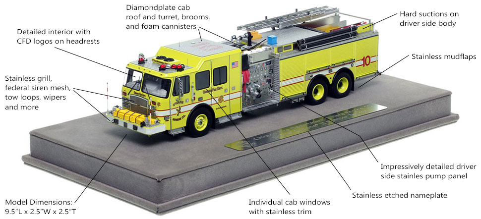 Features and Specs of Chicago O'Hare Engine 10 scale model