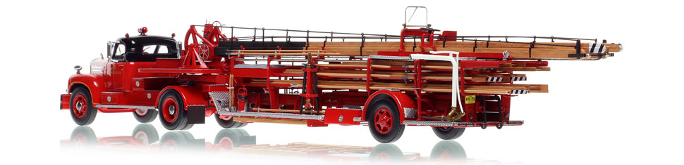 Chicago Fire Department 1960 Mack B tractor with 1954 FWD Aerial scale model is hand-crafted