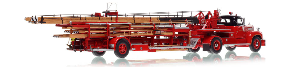 Each Chicago Mack B with FWD Aerial scale model includes a custom display case